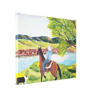 "Australian Shepherd ""End of the Drive"" Painting Canvas Print"