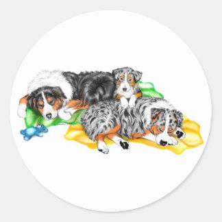Australian Shepherd Family Nap Classic Round Sticker