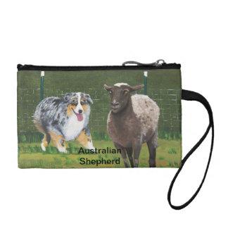 Australian Shepherd ~ Fetch Vert Oil Painting Change Purse