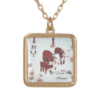 Australian Shepherd First Snow Cowdog necklace