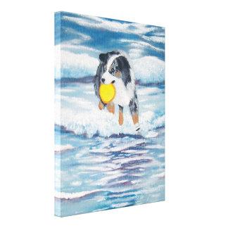 "Australian Shepherd Frisbee Dog ""Yippee"" Painting Canvas Print"