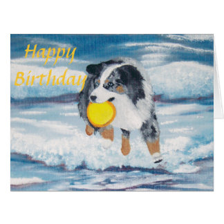 "Australian Shepherd Frisbee Dog ""Yippee"" Painting Card"
