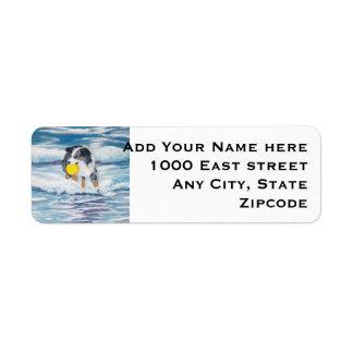 "Australian Shepherd Frisbee Dog ""Yippee"" Painting Custom Return Address Labels"