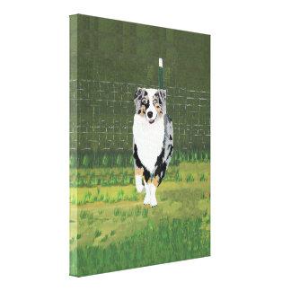 "Australian Shepherd ""Happy Puppy"" Painting Canvas Print"