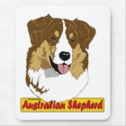 Australian Shepherd head- red tri colored Mouse Pad