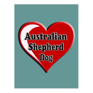 Australian Shepherd Heart Dog Lover Design Post Card