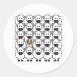 Australian Shepherd in the Sheep Classic Round Sticker