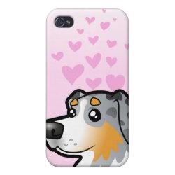 Case Savvy iPhone 4 Matte Finish Case with Australian Shepherd Phone Cases design