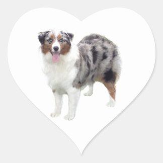 Australian Shepherd (merle-stand) Heart Sticker