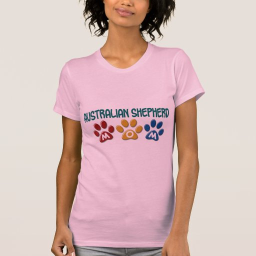 AUSTRALIAN SHEPHERD MOM Paw Print T-Shirt