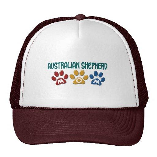 AUSTRALIAN SHEPHERD MOM Paw Print Trucker Hats
