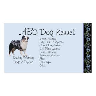 Australian Shepherd on Black Bluebells Double-Sided Standard Business Cards (Pack Of 100)