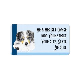 Australian Shepherd on Blue Address Label