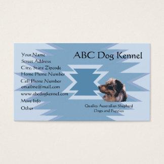 Australian Shepherd on Blue Indian Design Business Card