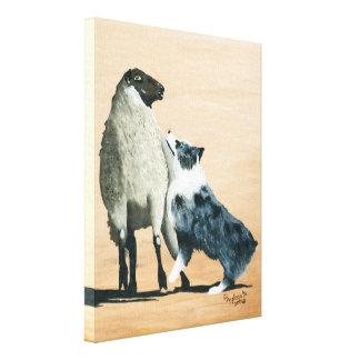 Australian Shepherd One Tough Sheepdog Painting Canvas Print