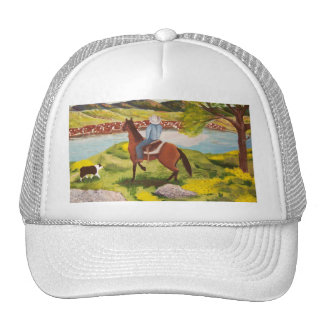 "Australian Shepherd ""Out of the West"" Painting Trucker Hat"