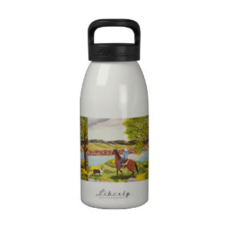 """Australian Shepherd """"Out of the West"""" Painting Water Bottle"""