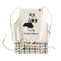 Australian Shepherd Pair, Black Tri and Blue Merle Zazzle HEART Apron