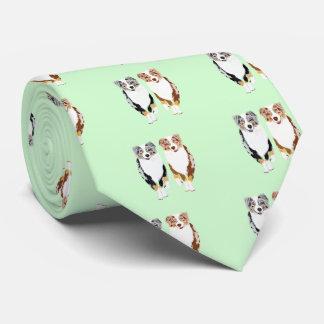 Australian Shepherd Pair Mint Grn doublesided tie