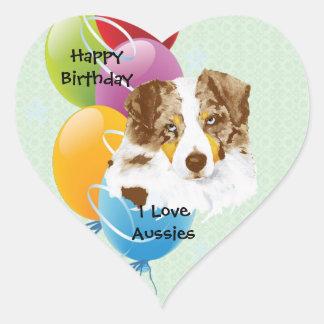 Australian Shepherd Personalized Happy Birthday Heart Sticker