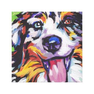 Australian Shepherd Pop Art on Stretched Canvas