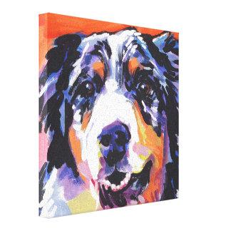 Australian Shepherd Pop Art on Stretched Canvas Canvas Print