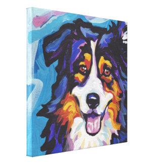 Australian Shepherd Pop Dog Art on Wrapped Canvas