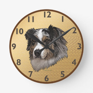 Australian Shepherd Portrait Round Wall Clocks