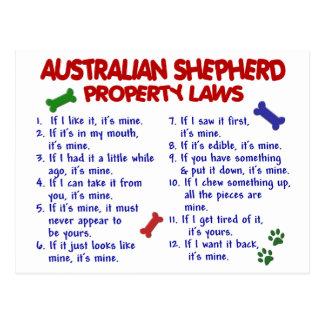 AUSTRALIAN SHEPHERD Property Laws 2 Post Cards