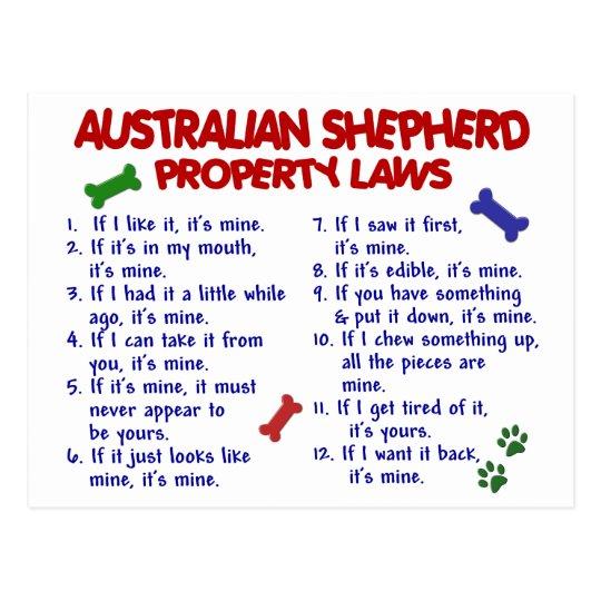 AUSTRALIAN SHEPHERD Property Laws 2 Postcard