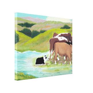 "Australian Shepherd ""Puddle Crossing"" Painting Canvas Print"