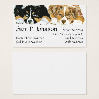 Australian Shepherd ~ Puppies Portrait Business Card