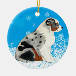 Australian Shepherd Puppies Snow Ornament