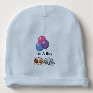 Australian Shepherd Puppies w/Balloons (Boy) Baby Beanie