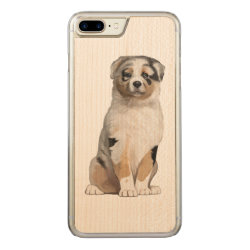 Carved Apple iPhone 7 Plus Wood Case with Australian Shepherd Phone Cases design