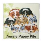 Australian Shepherd - Puppy Pile Small Square Tile