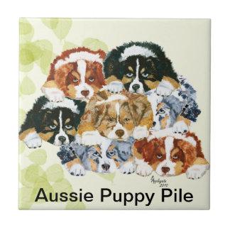 Australian Shepherd - Puppy Pile Ceramic Tile