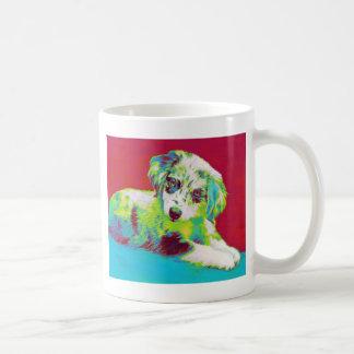 australian shepherd puppy-red coffee mug