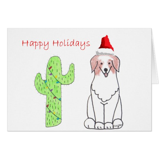 Australian Shepherd Red Cactus Christmas Card