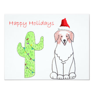Australian Shepherd Red Cactus Christmas 4.25x5.5 Paper Invitation Card