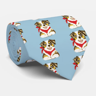 Australian Shepherd Red Merle Cartoon Puppy Tie