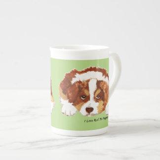 Australian Shepherd Red Tri Puppy Bone China Tea Cup