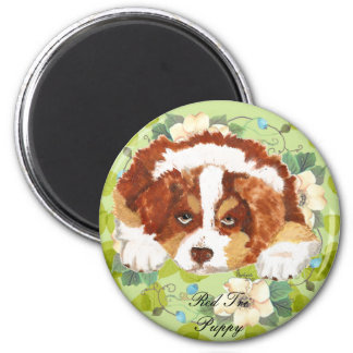 Australian Shepherd Red Tri Puppy ~ Green Leaves 2 Inch Round Magnet