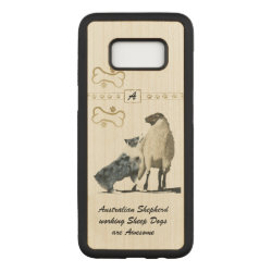 Carved Slim Case for Samsung Galaxy S8, Maple Wood with Australian Shepherd Phone Cases design