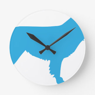 Australian Shepherd Silhouette Round Clock