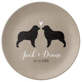 Australian Shepherd Silhouettes with Heart Dinner Plate