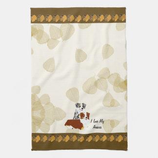 Australian Shepherd ~ Tan Leaves Motiff Hand Towels