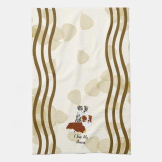 Australian Shepherd ~ Tan Leaves Motiff Kitchen Towels