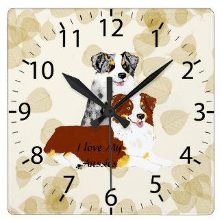 Australian Shepherd ~ Tan Leaves Motiff Square Wall Clock