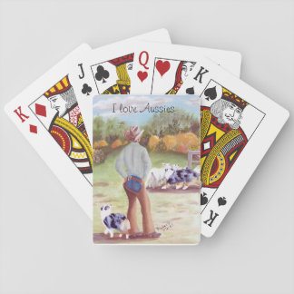 "Australian Shepherd ""Training Day"" Painting Playing Cards"